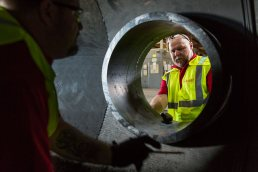 Drilling holes in large pipes at the Wolseyley Industrial Group, Industrial photography Lakeland, Florida by Tampa based commercial photographer Carver Mostardi.