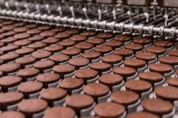 Chocolate cupcakes coming down food production line at Tastykake facility in Philadelphia, Pennsylvania.