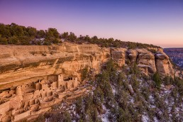 Dusk at Cliff Palace in Mesa Verde National Park, Colorado.