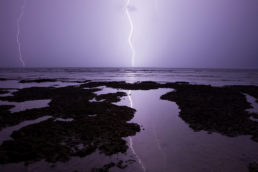 Lightning striking the Caribbean coast of Costa Rica in Puerto Viejo, Costa Rica.
