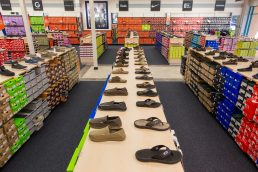 Sandals displayed at Rack Room Shoes - Vero Beach, Florida - Carver Mostardi Photography - Tampa commercial photography.