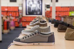 Sneakers displayed at Rack Room Shoes - Vero Beach, Florida - Carver Mostardi Photography - Tampa commercial photography.