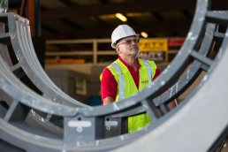 Inspecting pipes at the Wolseyley Industrial Group, Industrial photography Lakeland, Florida by Tampa based commercial photographer Carver Mostardi.