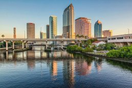 Tampa skyline from the Pratt St. bridge in Tampa, Florida commercial photographer Carver Mostardi.